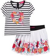 Betsey Johnson Striped Top & Floral Border Print Skirt Set (Little Girls)