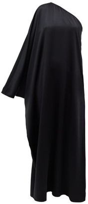 LA COLLECTION Maui One-shoulder Silk-satin Dress - Black
