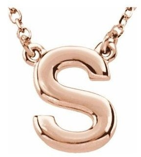 Diamond2deal 14K Rose Gold Block Initial S Necklace 16 Inch