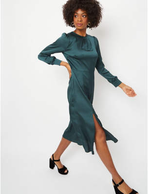 George Dark Green Long Sleeve Midi Dress