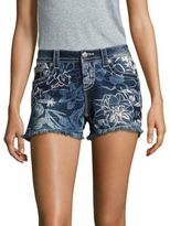 Miss Me Hawaiian Dream Floral-Textured Denim Shorts