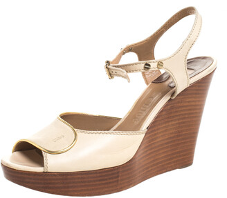 Chloé Beige Leather Peep Toe Ankle Strap Wooden Wedge Platform Sandals Size 38.5