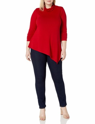 Karen Kane Women's Plus Size Asymmetric Turtleneck Sweater