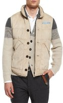 Brunello Cucinelli Button-Front Suede Vest, Light Brown