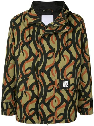 Ports V Abstract-Print Hooded Jacket