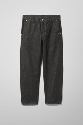 Weekday Barrel Relaxed Tapered Cropped Jeans - Black