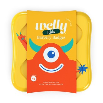 Welly Bravery Badges Monster Assorted Flex Fabric Bandages - 48 count