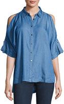 Neiman Marcus Cold-Shoulder High-Low Blouse, Blue