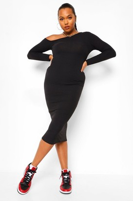 boohoo Plus Soft Rib Cut Out Sweater Dress