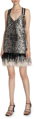 Proenza Schouler Animal-Print Jacquard V-Neck Feather-Trim Dress