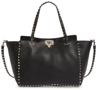 Valentino Rockstud Grained Calfskin Leather Tote