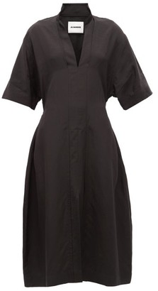 Jil Sander Stand-collar Tie-back Dress - Womens - Black