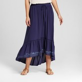 Knox Rose Women's Embroidered High Low Maxi Skirt