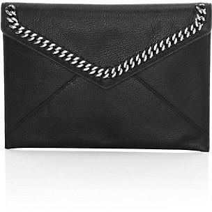 Rebecca Minkoff Leo Chain-Trimmed Leather Envelope Clutch
