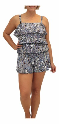 Fit 4 U Women's Plus Size Tidal 3 V Tier Bandeau Swim Romper
