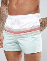 Asos Swim Shorts With Cut And Sew Pastel Stripe In Short Length