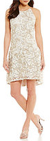 Adrianna Papell Liliana 3D Metallic Lace Hi-Low Dress
