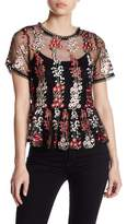 Very J Floral Embroidery Mesh Peplum Top