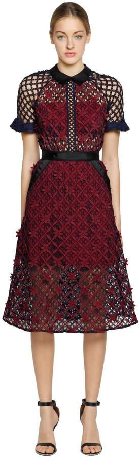 Self-Portrait Floral Grid Lace Midi Dress