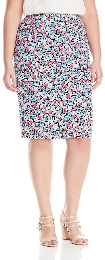 Nine West Women's Plus Size Printed Crepe Slim Skirt