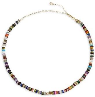 Sydney Evan 14K Yellow Gold, Rainbow Heishi & Diamond Ball Heishi Beaded Choker Necklace