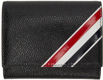 Thom Browne Black Intarsia Stripe Large Card Holder