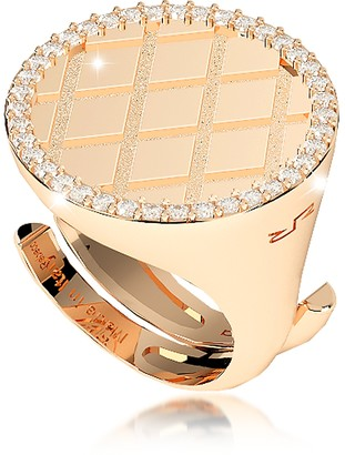Rebecca Melrose Yellow Gold Over Bronze Ring w/Cubic Zirconia