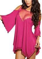 Yiwa Women's Plus Size Cut Off Shoulder Mesh Splicing Sexy Lingerie Pajamas Sleepwear 3XL