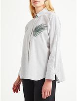 Marella Magma Embroidered Stripe Shirt, White/Grey