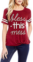 Moa Moa Bless This Mess Knot Front Football Tee