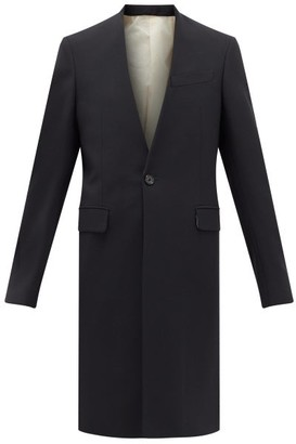 Raf Simons V-neck Single-breasted Wool-blend Coat - Dark Navy