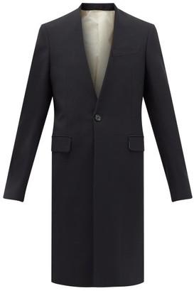 Raf Simons V-neck Single-breasted Wool-blend Coat - Womens - Dark Navy