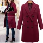 Kedera Womens Winter Thick Double Breasted Lapel Wool Slim Trench Coat Jacket