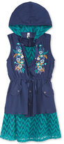 Beautees 2-Pc. Striped Dress, Embroidered Hooded Vest, & Necklace Set, Big Girls (7-16)