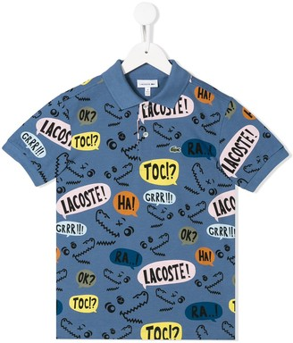 Lacoste Kids all-over logo print polo shirt