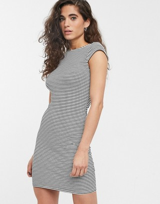 Only Pablo capped sleeve stripe bodycon dress-Black