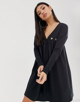 Asos Design DESIGN ultimate long sleeve cotton smock dress with eyelets
