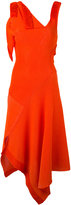 Victoria Beckham asymmetric flared dress - women - Cotton/Polyamide/Viscose - 1
