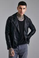 boohoo Mens Black Faux Leather Biker Jacket, Black