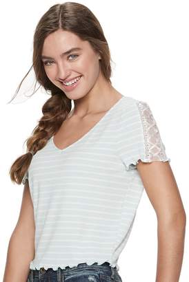 American Rag Juniors' Lace-Up Ribbed Baby Tee
