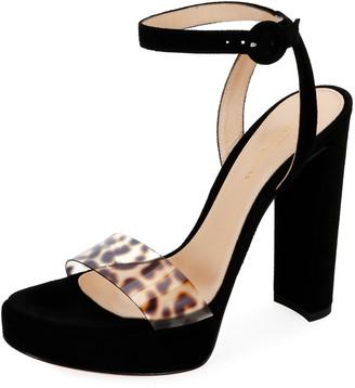 Gianvito Rossi Suede Platform Leopard-Strap Sandals