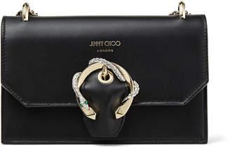 Jimmy Choo PARIS Black Smooth Calf Leather Mini Bag with Snake Buckle