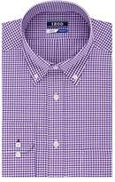 Izod Men's Regular Fit Stretch Mini Check Buttondown Collar Dress Shirt