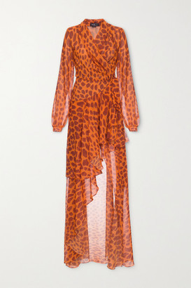 PatBO Margot Ruffled Printed Chiffon Wrap Maxi Dress - Orange