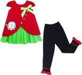 Sunny Fashion JJ85 Girls Outfit Set Christmas Santa Embroide Pants $