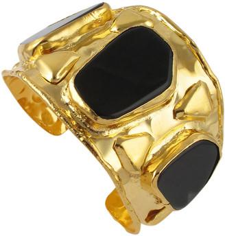 Devon Leigh Black Agate Gold Cuff