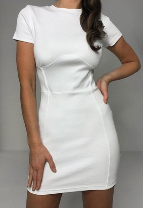Missguided White Corset Waist Bandage Rib Mini Dress