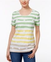 Karen Scott Floral-Print Striped Top, Created for Macy's