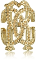 Roberto Cavalli RC Icon Light Gold Ring w/Crystals