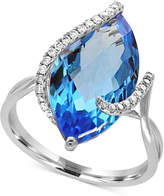 Effy Ocean Bleu by Blue Topaz (7-1/10 ct. t.w.) and Diamond (1/8 ct. t.w.) Ring in 14k White Gold